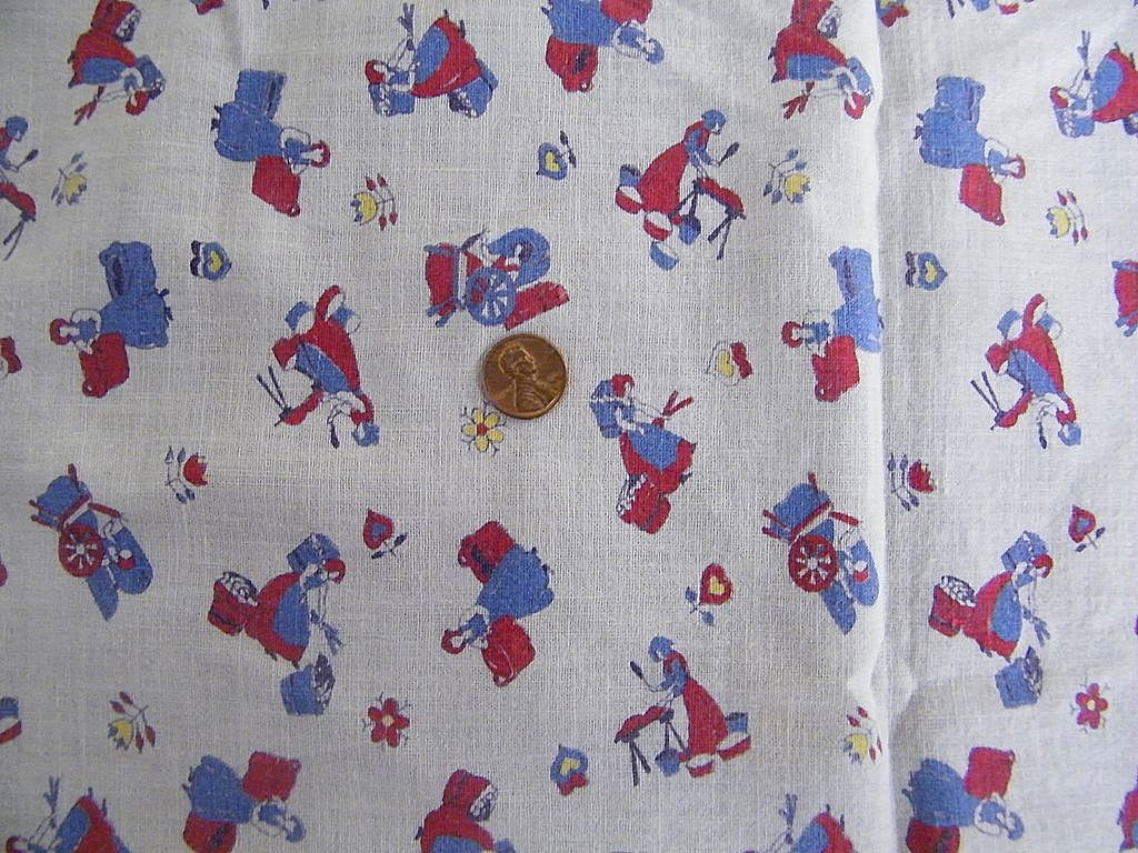 "Vintage 1930's Childs Cover / Sheet / Bedspread or Tablecloth..Pioneer Print Women's Chores..46"" Square"