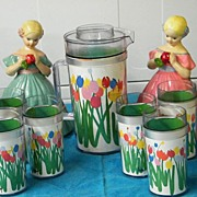 RETRO..1960's Insulated Plastic Beverage With Bright Tulips..Thermo Serve By Audrey..Pitcher & 6 Tall Tumblers