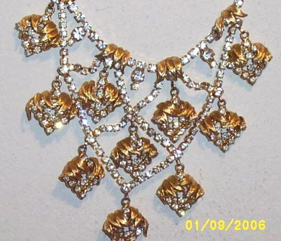VENUS FLAMES... D & E  Rhinestone & Gold Multi-Tiered Waterfall.. Bib Necklace..Designer..Un-Signed