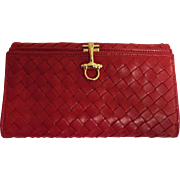 Grandi Of Bellagio, Italy..Designer Red Basket Weave So Soft Leather Women's Billfold / Wallet..NOS