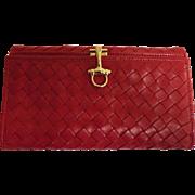 Grandi Of Bellagio, Italy..Designer Red Basket Weave So Soft Leather Women's Billfold / Wallet..NOS