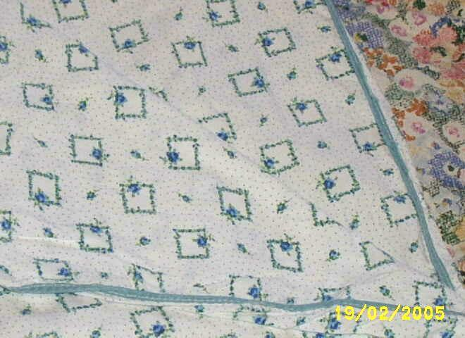 Vintage Cotton Blanket Cove Or Coverlet Of Tiny Blue Roses..Squares...And Dots