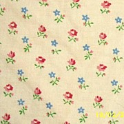 Vintage Cotton Blanket Cover Coverlet Tiny Pink Rosebuds With Blue Flowers