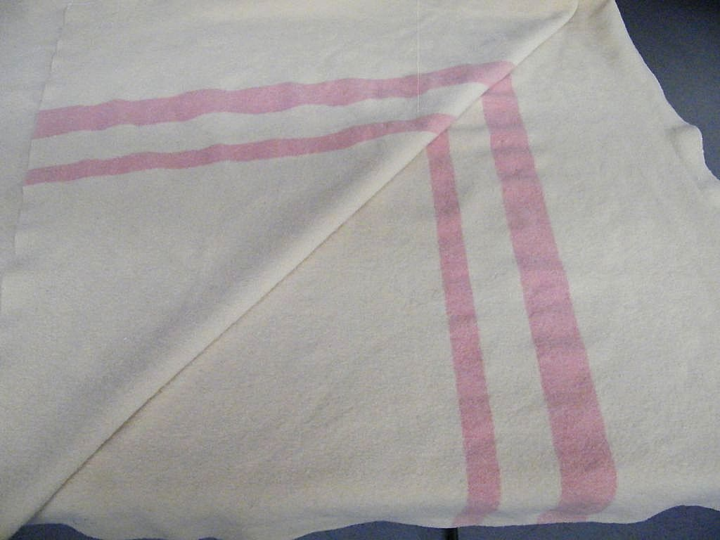 "Camp / Trade Wool Blanket Off White..2 Pink Stripes..66"" x 74..Twin"