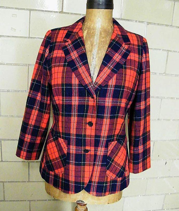 Royal Stuart Plaid Wool Blazer / Jacket..Pendelton..Excellent Condition