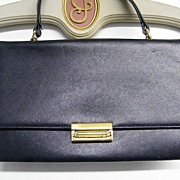 Charles Block ENVELOPE  Handbag Purse..Navy Embossed Leather...Excellent Condition!