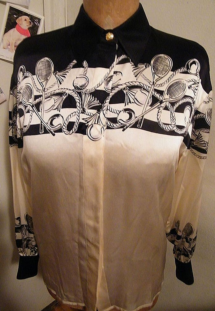 ESCADA Silk Tennis Border Print Blouse..Ivory With Black Print Tennis Rackets..Size 36..Made In Germany