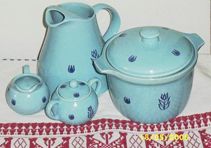 Vintage..Blue Tulip by Cronin Pottery..6. Piece Set