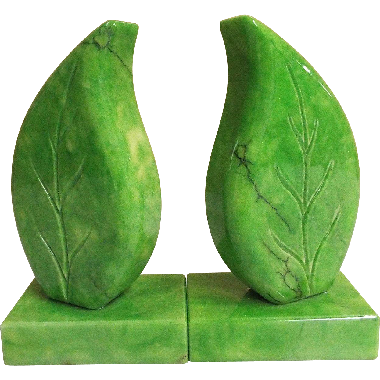 Mid- Century Bookends...Hand Carved In Italy...Green Alabaster Leaf