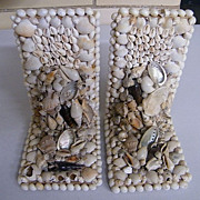 Vintage Shell Collage Bookends..Set