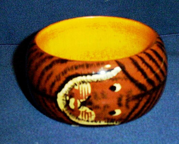 Painted Lion Face Wide Wood Bangle Bracelet