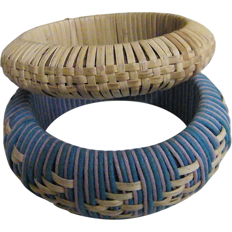 Wrapped Straw Bangle Bracelet Set Of Turquoise With Natural Straw Design..&..Natural Straw Wrap