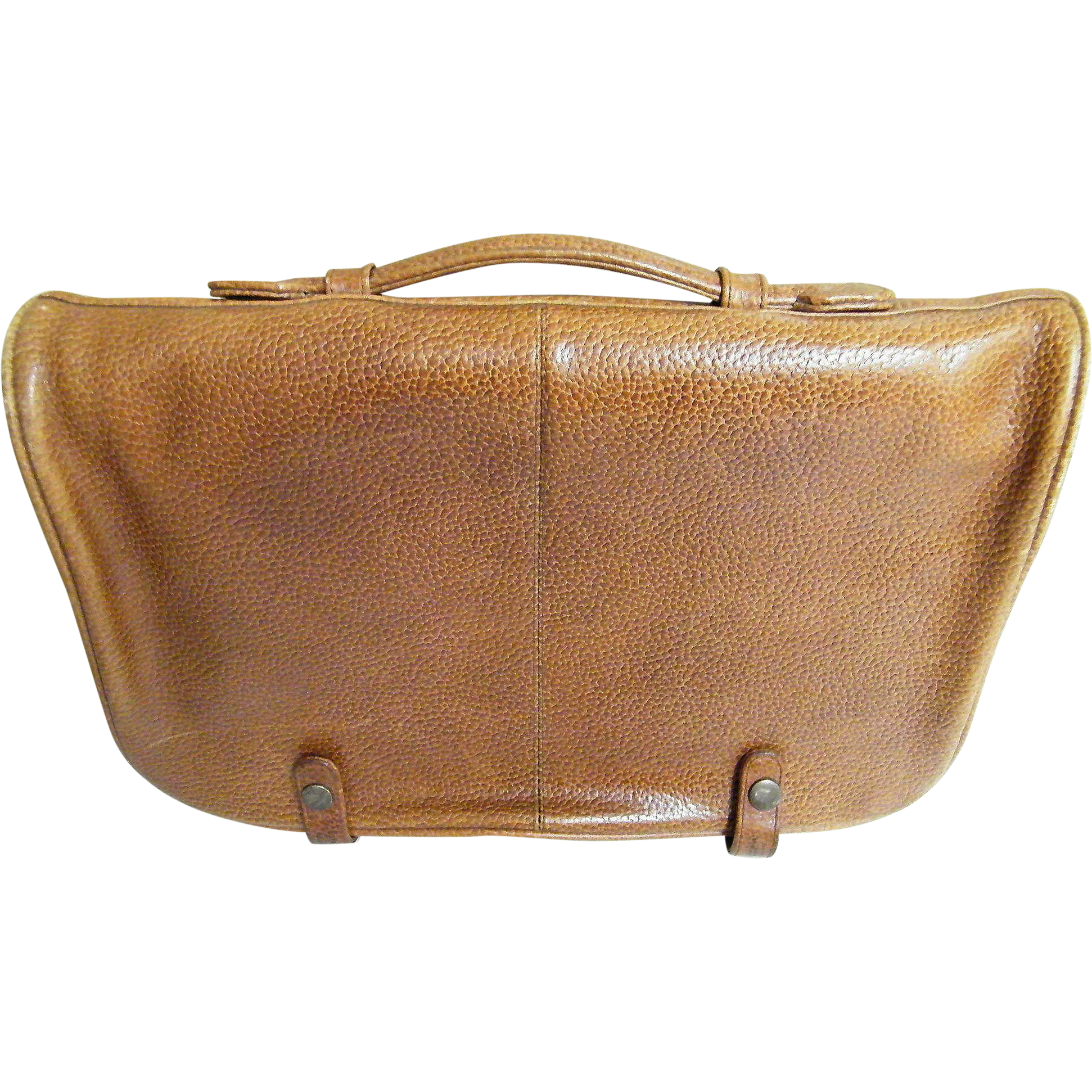 Quality Vintage Cowhide Briefcase..Light Brown..Handle..Large Zippered Compartments..Plus Large Pockets