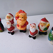 CANDLES: Santas & Snowmen Assortment..Plus 2 Tiny Ceramic Santas...7 Pieces