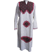 Red & Green Caftan..Red & Green Raised Embroidery On Natural Color Fabric With Woven Geometric Pattern.