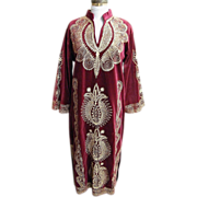 Elegant Long Wine Velveteen Caftan With Gold Metallic Embroidery..Turkey..1960's-70's..Turkey
