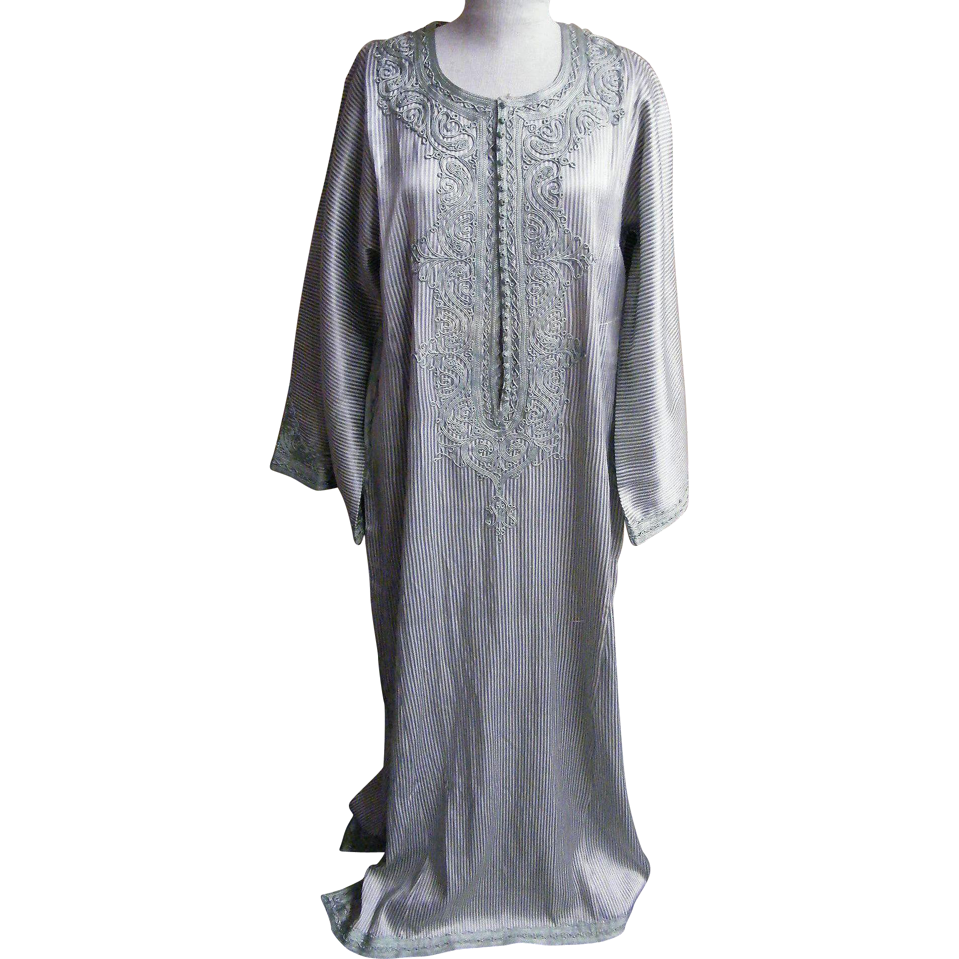Moroccan Caftan Medium Weight Silk Aqua And White Stripe Embroidered Hand Made