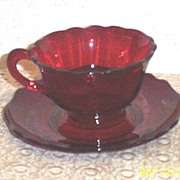 Vintage Cambridge Glass Carmen..Ruby Red ..Scalloped Cup & Saucer Set (Set's] 3 Available