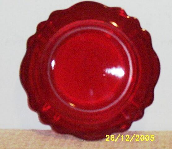 Vintage Cambridge Glass Scalloped Dessert / Salad Plate [Plate's].. Carmen / Ruby Red...4 Available