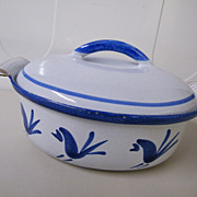 Blue Rooster Husqvarna Of Sweden Cast Iron / Enamel Casserole / Dutch Oven..Blue Rooster Pattern