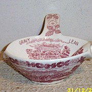Red Transferware Gravy Dish...Lean...Fat