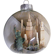 Folk Art Clear Glass Christmas Ball / Ornament TWIN TOWER & Statue Of Liberty...Signed