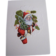 Christmas Collage Card..Die Cut Scraps..Santa Bust..Tree & Sack of Toys..Germany