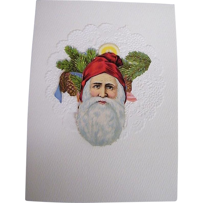 Christmas Card Collage..Santa Face..Die Cut..Germany