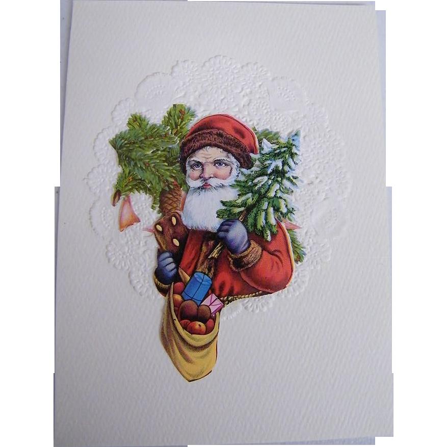 Christmas Card Collage..Santa Bust..Tree & Bag Of Apples..Vintage Paper Scraps..Die Cut..Germany