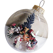 Folk Art Clear Glass Christmas Ornament Winter Scene #2..Signed..
