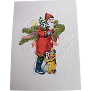 Christmas Card Collage..Santa Carrying 2 Christmas Trees & Sack Of Toys