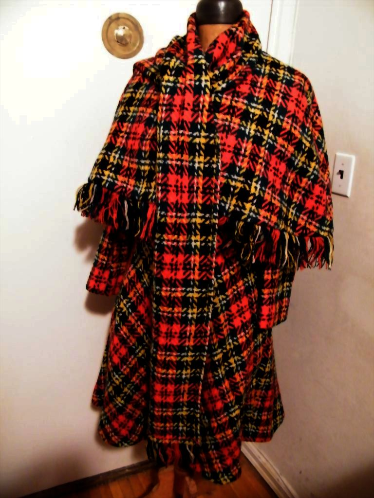 Red Royal Stuart Plaid Fitted & Circle Coat With Cape By Frank Masandrea..Excellent Condition