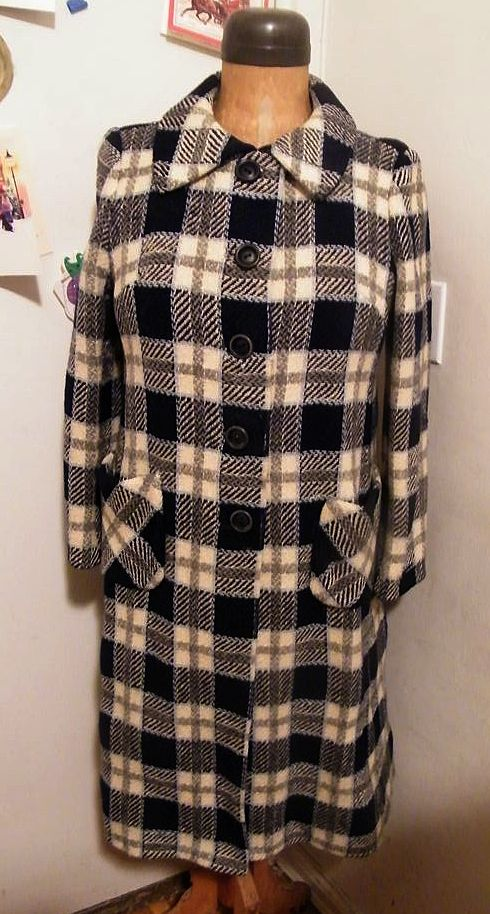 1960's..Black / White / Gray Basketweave Plaid Wool Coat..Woodward & Lothrop Label..Excellent Condition