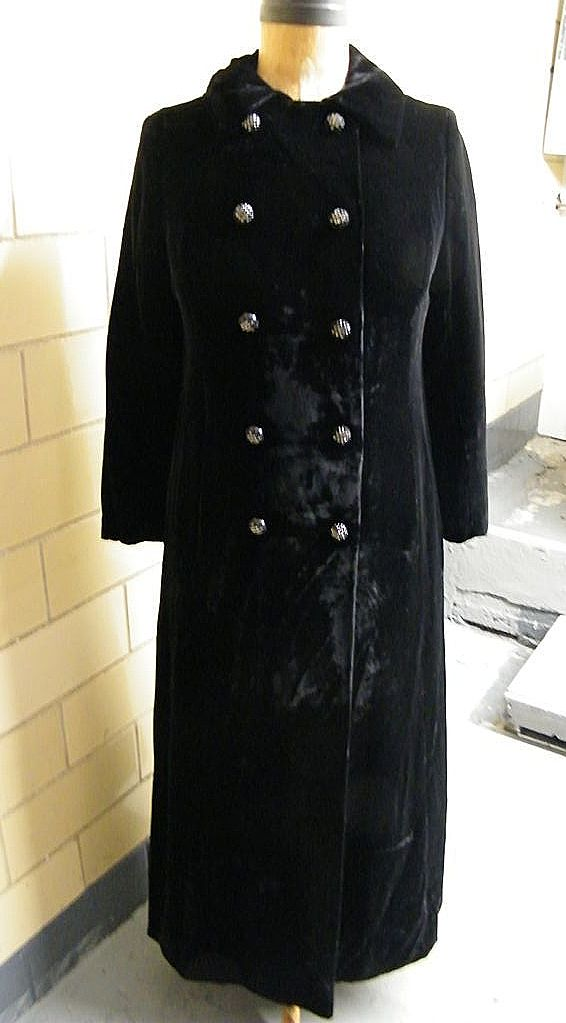 Vintage Black Velvet Double Breasted Opera Coat With Rhinestone Buttons