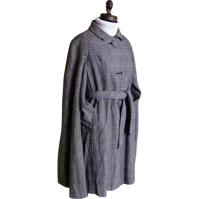 Mini Full Cape Wool Glen Plaid Coat...Travelcoats By Naman..1960's..