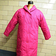 Early Goose Down Coat..Rose Pink..Pink & Black Houndstooth Lining..London Fog..Winning Edge..L/XL..Excellent Condition