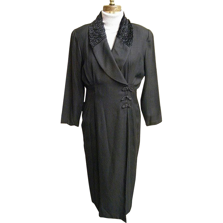 Black Russian Style Coat-Dress In Rayon Crepe..Faux Persian Lamb Collar..Frog Closing..Size 14