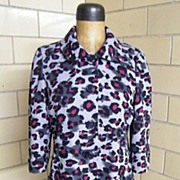 Nicole Miller..Leopard Spots..Duster / Spring Coat..Tonal Gray/Black/Wine..Polyester Crepe..Size 14..Lined..Excellent Condition
