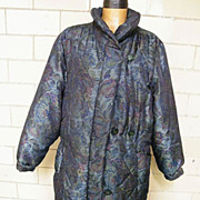 Polyester Fiber Fill Quilted Coat..Printed Taffeta..ROAMAN'S... Size 16-20