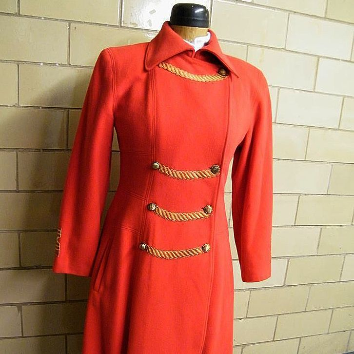 MAXI Military Wool Fleece Bright Coral Coat By Lavantino...Excellent Condition