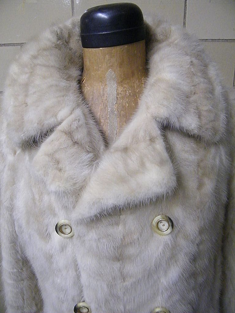 1960's Champagne Mink Coat..Double Breasted..Leaf's Paris New