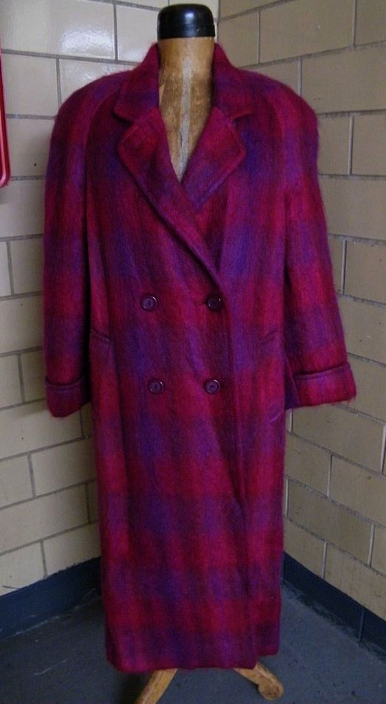 ..Raspberry & Violet Mohair Plaid Coat By Paul Levy..Large Size..Excellent Condition!