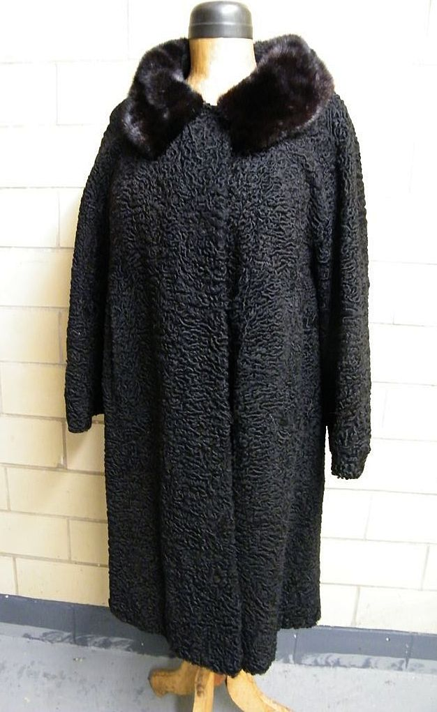 Mid-Century Black Persian Lamb Coat With Brown Mink Collar..Excellent Vintage Condition