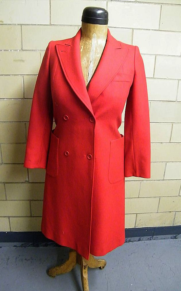 Jean Paul Paris..Red Wool Semi-Fitted Double Breasted Wool Coat..Excellent Condition