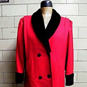 SALE..Dark Red Wool Chemise Style Coat With Faux Black Persian Lamb Collar..Russell Scott..Double Breasted...USA..Excellent Condition!