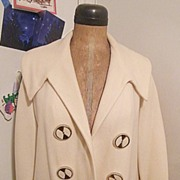 Vintage ..50's-60's White Waffle Weave Wool OPEN FRONT Coat Topper..Excellent Vintage Condition