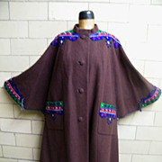 Vintage Austrian Tyrolean Cape Coat..Felt Appliques..Brown..Size X Large