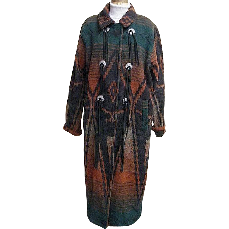 Woolrich Native Indian Blanket Maxi Coat..Wool..Fringe..Large..USA