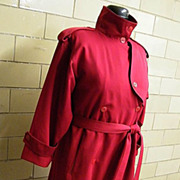 DRIZZLE Wool All Weather  Trench Coat..Red Wool Gabardine / Wool Button Out Lining..1980's..USA