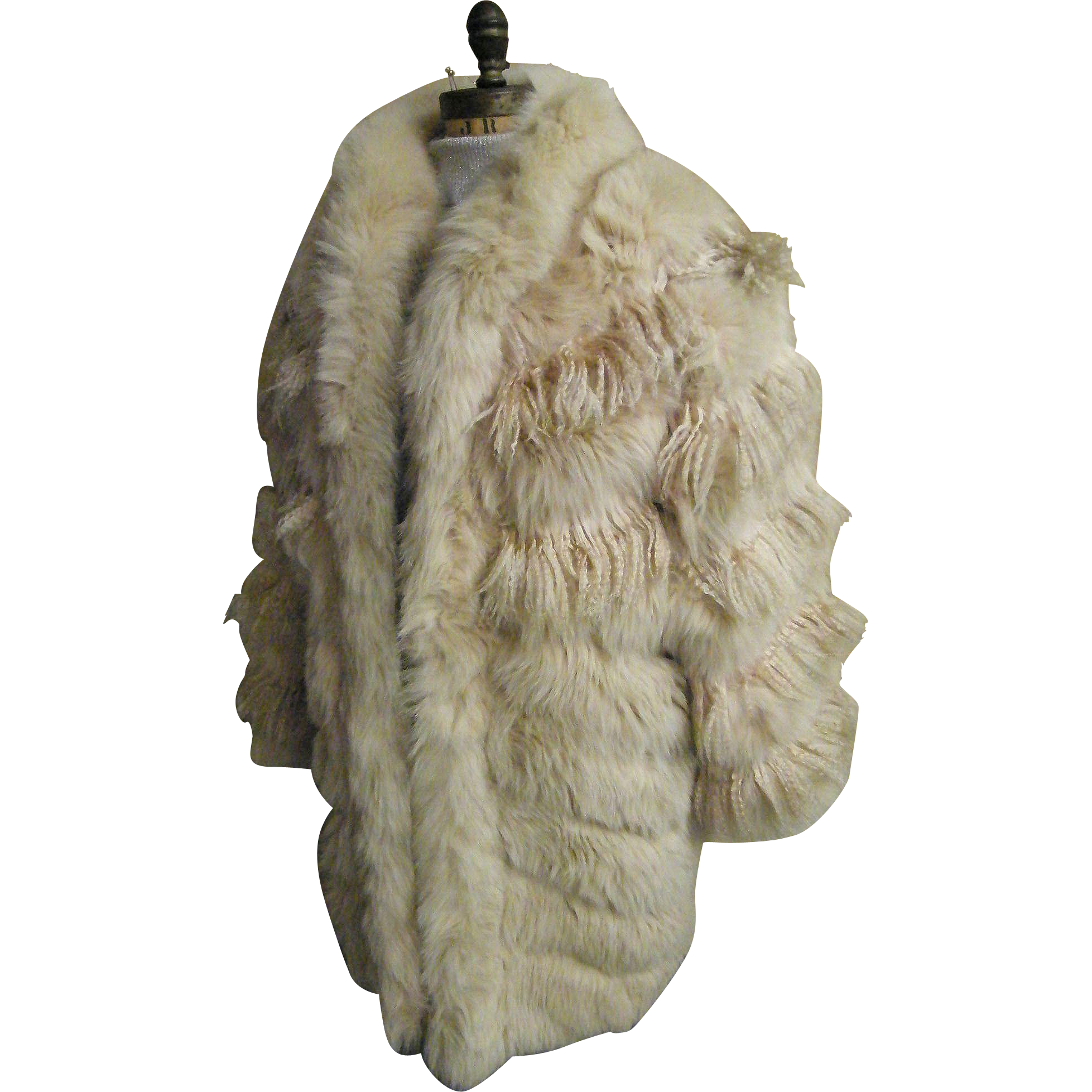 Mongolian Long Curly Lamb Fur Coat Pale Beige